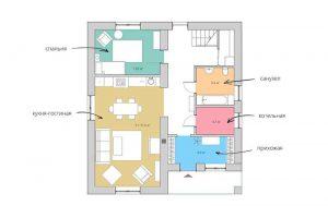 Планировка первого этажа загородного дома.
