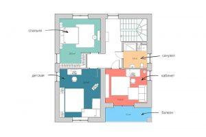 Планировка второго этажа загородного дома.